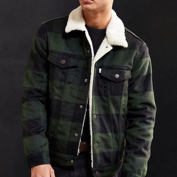 Levis men's plaid sherpa trucker jacket L (ч81)